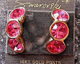 Signed Swarovski Post Earrings with Pink Crystals in Gold Plated Setting New (D)