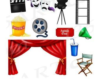 50% OFF Movie Clipart Clip art, Movie Theater Clipart, Movie Night Clip art, Cinema, Scrapbooking, Invitations, Movie Reel, Graphics