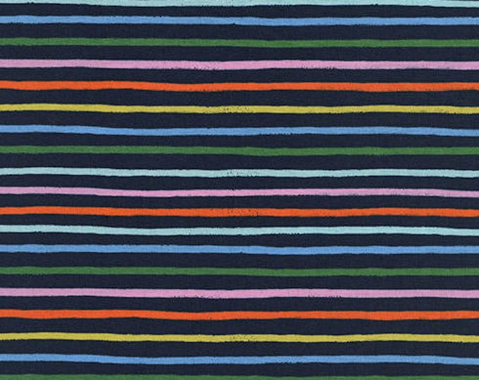 PRESALE: Happy Stripes - Navy in Cotton Lawn by Rifle Paper Co. for Cotton + Steel