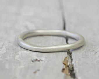 Silver Ring Ring Matt Brushed, collector ring, 2mm, 925 sterling silver, organic form