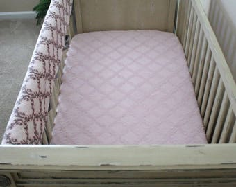 Minky Baby Pink Cuddle Embossed Lattice CRIB SHEET, Toddler, Crib Bedding, Nursery
