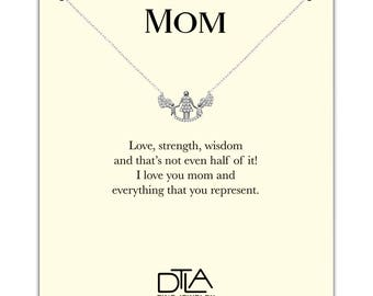 DTLA Mother Necklace in Sterling Silver with Loving Mom Message Card Gift - Silver