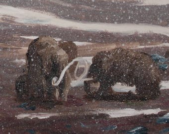 Original Oil Painting of Woolly Mammoths and a Saber Toothed Cat in Ice Age Snowing Winter Landscape Fine Art Oil on Canvas