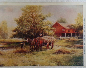 Antique 1908 Postcard Horses & Hay Wagon, Making Hay While the Sun Shines, Farm and Rural/ Country Life, Collectible Ephemera, Liverpool WV