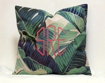 Personalized Monogram Pillow cover Custom palm leaf