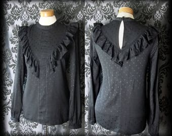 Gothic Black Frilled Bib GOVERNESS High Neck Blouse Smock 8 10 Victorian Vintage