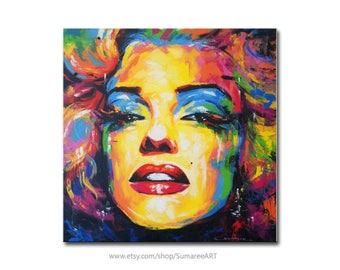 Marilyn Monroe, rainbow portrait painting, 67x67cm
