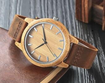 Wooden watch, quartz watch,unisex watch in light natural wood