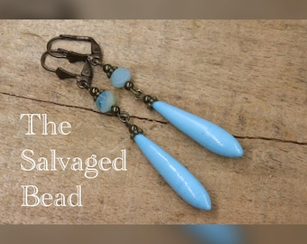 Antique Art Deco Gatsby Turquoise Glass Drop Earrings, circa 1920's by The Salvaged Bead