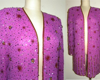 1980s 80s Beaded Jacket Evening Jacket / Purple Fuchsia Designer Jack Bryan / Luxe / Duster / Vintage size L