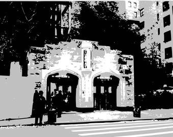 Print of subway station exit / white / black / gray / 8 x 10 PRINT / Subway / NYC
