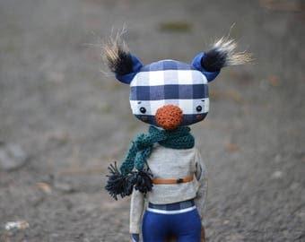 Art textile animal panda doll - Bear doll - Fox doll - Woodland doll - Strange doll - Soft toy - Handmade teddy bear stuffed toy.