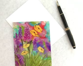 Note card. Art card. Greeting card. Print of original alcohol ink art. Garden Party II.