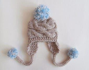 ON SALE 10% SALE Baby Boy Hat , Baby Boy Knit Hat , Baby Boy Winter Hat, Newborn Hat Baby Hat Earflap  , Knit Baby Hat , Photo Prop