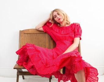 vintage 1960s cherry polka dot ruffled dress | M/L
