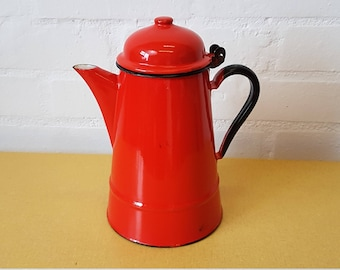 Mid century red enamel coffee pot