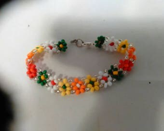 Handmade Colorful beaded flowers Anklet