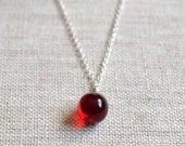 Halloween Necklace, Drop of Blood, Dark Red Glass Pendant, Silver Plated Chain, Fun Spooky, Vampire Jewelry, Costume Accessory