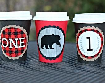 BOY LUMBERJACK BIRTHDAY Party Hot Cocoa Cups, Bear Coffee Cups, Hot Chocolate Bar, Our Little Bear, Winter Boy Birthday, Buffalo Check