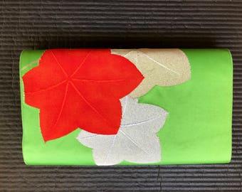 """Japanese Obi - Vintage Kimono Obi - Silk Obi - Obi - Floral Obi - Nagoya Obi - """"Bright Green"""""""
