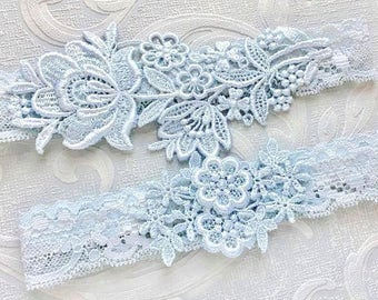"Blue Lace Wedding Garter Set, Blue Garter Set, Lace Garter, Toss Garter, Simple Lace Garters - Available in Ivory or White - ""Flora"""