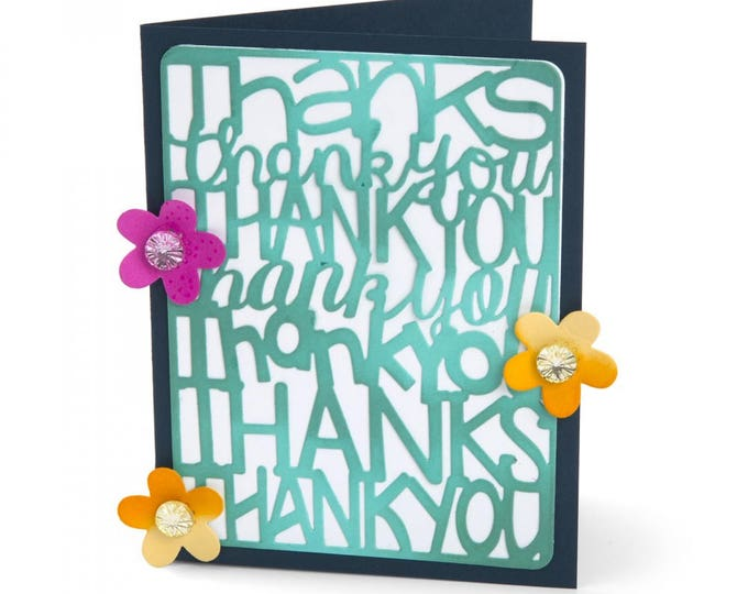 New! Sizzix Thinlits Die Set 2PK - Thank You by Stephanie Barnard 662254