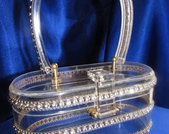 SALE VINTAGE Clear Lucite Purse Embellished with Three Rows of Silver Beads and Rhinestones!