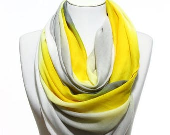 Yellow Grey White Degrade Printed So Soft Lightweight Spring Summer Woman Fashion Accessory Scarves Women Gift Ideas For Her Him Mom