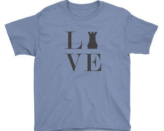 Youth Short Sleeve T-Shirt - Live Love Chess Black Rook Youth T-Shirt
