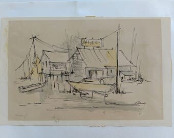 Vintage Mid century modern signed artist proof lithograph