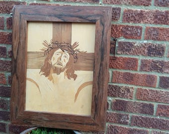 Vintage Marquetry Picture The Crucifixion Jesus. Inlay