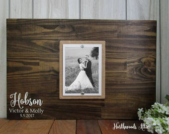 "Guest Book Alternative  5x7 Photo - Wedding Guest Sign In Wood Sign - Small Wedding Guest Book - 16x24"" - MADE TO ORDER"