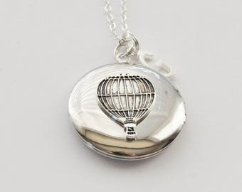Hot Air Balloon Locket, Steampunk Locket, Travel Locket, Wander Locket, Traveller Locket, Wander Necklace, Photo Locket