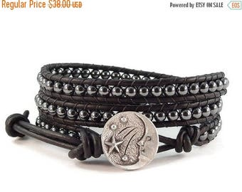 SALE Leather Wrap Bracelet Hematite Gemstones Moon and Stars Button Black Beaded Jewelry