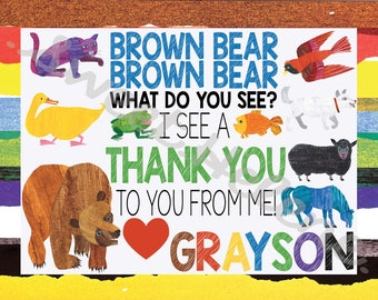 Brown Bear Brown Bear Thank You Notes -Thank You Cards - Brown Bear Brown Bear What Do You See?