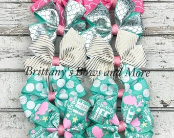 Pigtail Clippie Sets ~ Small Hair Bows ~ Hairbow Gift Set ~ Pigtail Bows