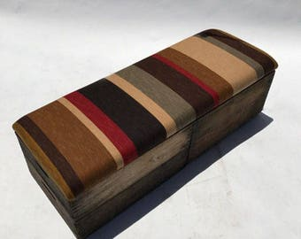 Upholstered Crate Storage Bench - Retro Stripe
