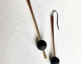 Onyx, brass and ss earrings