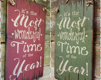 It's The Most Wonderful Time Of The Year!  Christmas Carol, Christmas Song, Rustic, Antiqued, Wooden Sign
