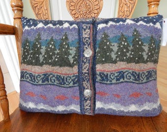 Wool Sweater Pillow, Landscape trees and Mountains