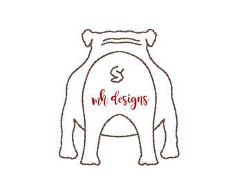 Quick Stitch Bulldog Butt, 4x4, Bulldog embroidery design, Vintage stitch bulldog, Bulldog embroidery file, Bean stitch Bulldog, Bull dog