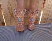 "Tan Turquoise Studded Western 18 "" DOLL Cowboy Boots--Shown on my american girl doll"