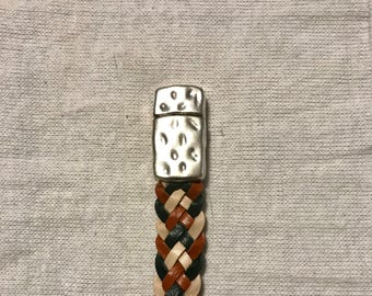 Six Strand Braided Kangaroo Leather Bracelet