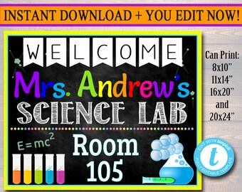 Science Teacher Classroom Door Sign, Science Lab Printable Classroom Sign, Custom Teacher Sign, Teacher Door Hanger, Science Teacher Gifts