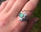 Sea Glass Mermaid Ring, Sterling Silver Mermaid Tail Ring, Mermaid jewelry, Ocean Jewelry, Sea Maiden Ring