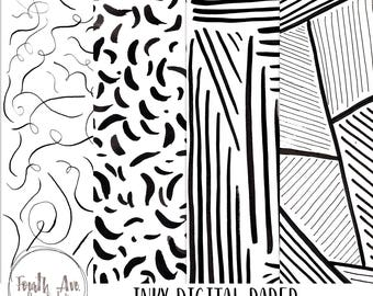 Black and White Digital Paper, Inky, Abstract, Bold, Modern, Digital Background, Digital Paper, Digital Wallpaper, Scrapbook Paper