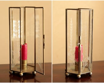 Vintage brass and glass octagon candle holder with door / vintage brass holiday decor with etched glass panels