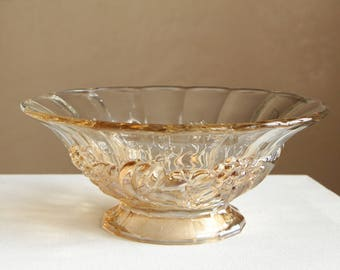 Vintage clear glass footed fruit bowl with scalloped edge / golden brown toned glass decor serving dish