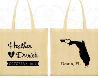 Florida Wedding, Florida Tote Bags, Wedding Canvas Bags, Destination Wedding Bags, State Tote Bags, Wedding Bag Favors (C108)