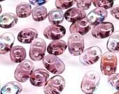 Amethyst AB : SuperDuo  Czech Glass,2 Hole, 2.5x5mm, 10-30 grams  (b-6F)